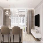 Дизайн интерьера кухни и обеденной зоны в квартире ЖК Галактика