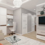 Дизайн интерьера в ЖК Галактика – гостиная, рабочая зона, зона отдыха.