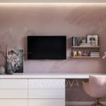 Дизайн рабочей зоны в розовых тонах в квартире ЖК Теремки 2