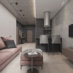 Дизайн интерьера гостиной в ЖК Галактика