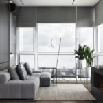Дизайн интерьера в оттенках серого в ЖК Глушкова