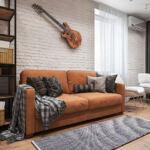 Стильный интерьер зоны релакса и гостиной в квартире ЖК Демеевский