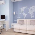 Вариант совмещения рабочей зоны и зоны отдыха в квартире ЖК Лыбидь