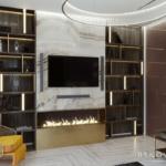 Уютная гостиная с имитацией камина в квартире ЖК Pechersk Plaza