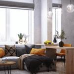 Функциональный современный дизайн квартиры студии в ЖК Метрополь