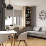 Оформление гостиной в серых тонах в квартире ЖК Вест Хаус