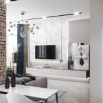 Дизайн гостиной и обеденной зоны в квартире-студии ЖК Аристократ
