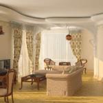 Роскошный дизайн гостиной и обеденной зоны в квартире ЖК по ул. Обуховская