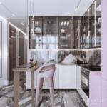 Вариант оформления кухни и обеденной зоны в квартире ЖК Pechersk Plaza