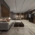 Дизайн интерьера в серо-коричневых тонах ЖК Метрополь