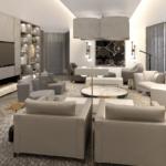 Дизайн просторной гостиной с паркетным покрытием в ЖК Linden Luxury Residences