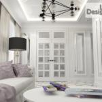 Пример оформления гостиной в пастельных тонах в ЖК Метрополь
