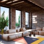 Имитация кирпичной кладки в дизайне интерьера гостиной квартиры в ЖК Чикаго
