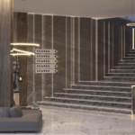 Оформление лестницы в ЖК Подол Плаза