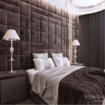 Дизайн интерьера спальни с панорамными окнами в квартире ЖК Подол Плаза