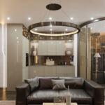 Оформление интерьера квартиры со стеклянными перегородками между комнатами в ЖК Подол Плаза
